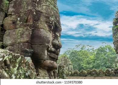 Faces of Bayon temple in Phnom Penh - Siem Reap, Cambodia ,before dawn in the morning,It is the largest castle and religious place in the world.UNESCO is a World Heritage Site.