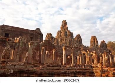 Faces in Bayon Temple at sunset, Angkor Wat, Cambodia