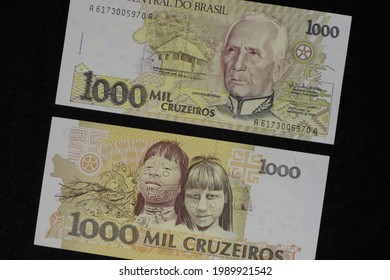 Faces of a bill of money, worth a thousand cruzeiros, on the front the figure of Marshal Candido Rondon and on the back an image of two Brazilian Indians.
