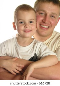 faces father with son smile isolated