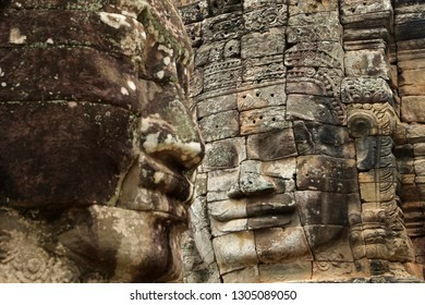 Faces of Lokesvara, Bayon Temple, Angkor, Cambodia