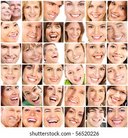 Faces of smiling people. Teeth care. Smile