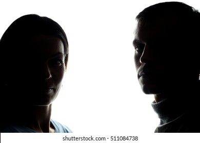 Faces women and men across from, brother and sister - horizontal silhouette