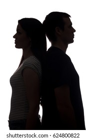 Faces women and men look in different directions, brother and sister - vertical silhouette