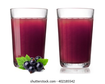 Faceted glasses with blackcurrant smoothie. One glass with berries on foreground. Separate clipping paths for each glass, for berries and for shadows. Infinite depth of field