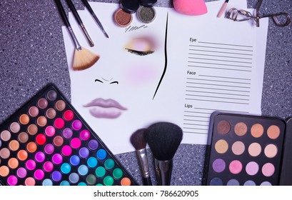 Fachion facechart makeup template for drawing cosmetics