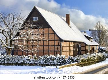 Fachwerk house (thatched roof), Germany (Lueneburg near Hamburg)