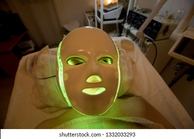 Facial beauty treatment with leds mask, Spain