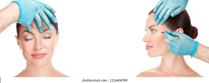 Facial cosmetic plastic surgery concept. Doctor surgeon hand in glove draw wrinkle lines on Woman  and injecting filler in forehead face eye isolated white background. Sculpting reshaping surgery