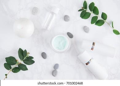 facial cream tube pebble leaves