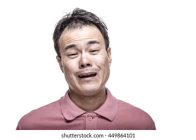 Facial expression : man laughing - high contrast