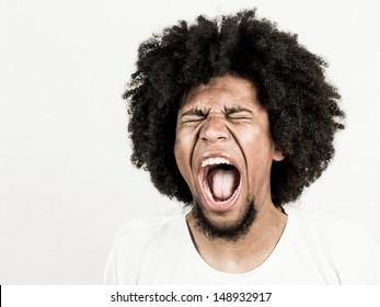 Facial expression of man - scream
