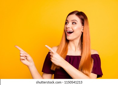 Facial expression people person concept. Close up photo portrait of nice cheerful surprised excited cool fancy joyful humorous lady asking you to look aside isolated bright background copy space