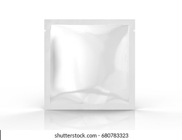 Facial mask package mockup, blank foil package template in 3d rendering, standing pack isolated on white background, square shape