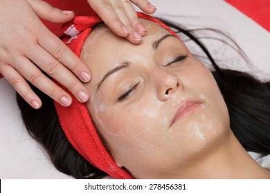 Facial massage in salon beauty