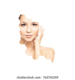 Facial portrait of young and healthy woman. Plastic surgery, skin care, cosmetics and face lifting concept.