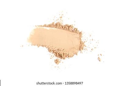 Facial powder on white background