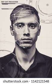 Facial recognition. Biometric verification. A modern young man. The concept of a new face recognition technology on a polygonal mesh is built by security and IT security points.