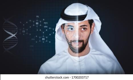 Facial recognition system, concept. Arab young man, face recognition, Dubai high security.