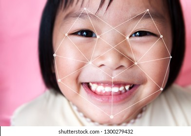 Facial recognition system concept. Asian child face ID scanning.
