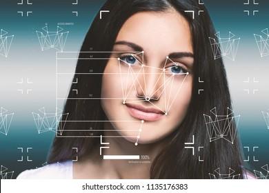 Facial Recognition System concept. Face Recognition