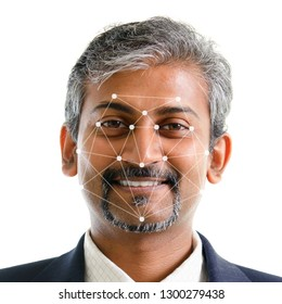 Facial recognition system concept. Indian man face ID scanning.
