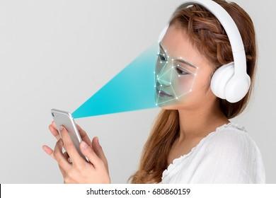 Facial Recognition System of smart phone. Biometrics concept.