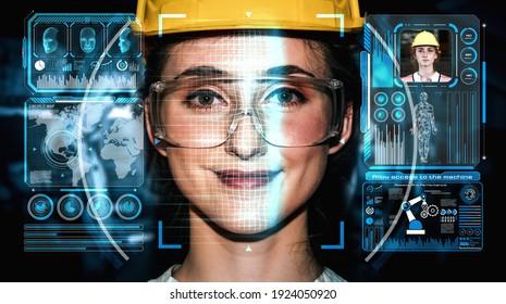Gesichtserkennungstechnologie für Industriearbeiter, die auf die Maschinensteuerung zugreifen. Zukünftige Konzepte-Schnittstelle mit digitalem biometrischem Sicherheitssystem, das menschliches Gesicht zu analysieren, um personenbezogene Daten zu überprüfen .