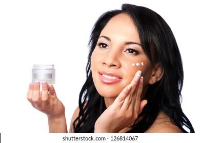 Facial skin Beauty treatment, beautiful face, skincare moisturizing rejuvenate exfoliating cream application, isolated.