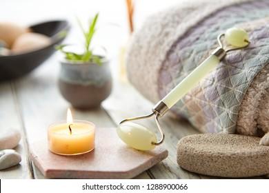 Facial Treatment Jade Roller In Spa Setting