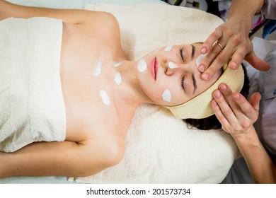 Facial treatment in spa salon