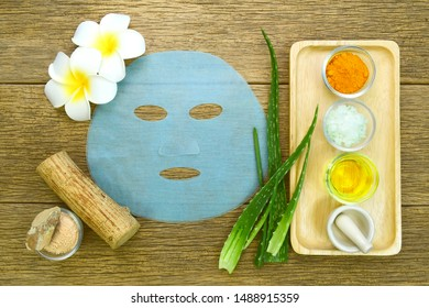 Facial treatment in Thai's spa style. Thai recipe for facial mask with Aloe Vera, Honey, Essential oil, mineral earth, Curmin powder and Tanaka.