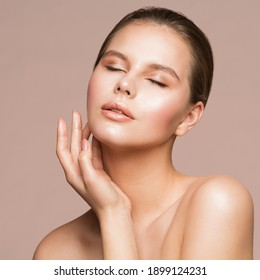 Facial Treatment.Skin Care Cosmetology. Woman Beauty Portrait, Beautiful Model Touching Face by Hand