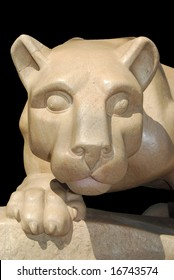 Facial view of Nittany Lion statue