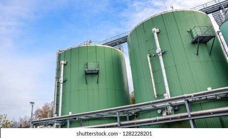 Facilities for storage and production of biogas called silos, digesters and drying towers.