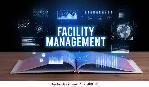 FACILITY MANAGEMENT inscription coming out from an open book, creative business concept