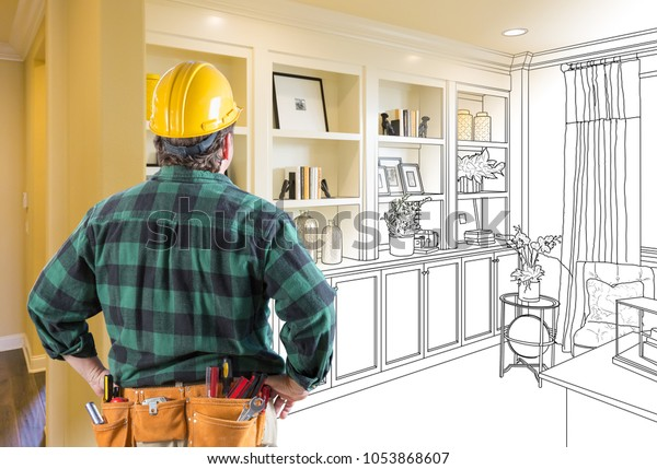 Facing Custom Built-in Shelves and Cabinets Design Drawing Gradating to Finished Photo.