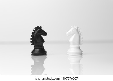 Facing two knight chess pieces in white background - business concept, strategy
