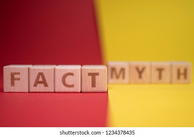 Fact and Myth words made with wooden blocks