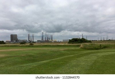 Factories by golf course, Seaton Carew Sand Dunes, Hartlepool, England