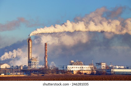Factory with air pollution