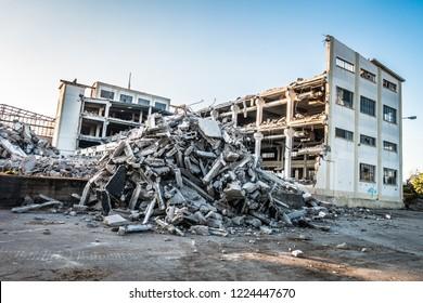 Factory building demolition