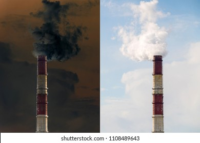 Factory chimneys pollution. Industrial area of the city. Chimney stack red and white color.