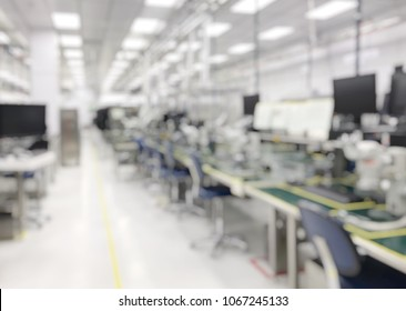 Factory cleanroom line products defocused background