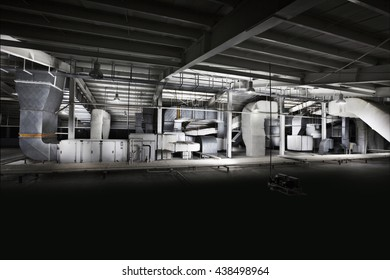 Factory, company with dark background.