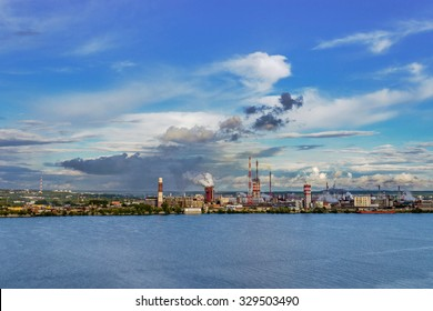 The factory complex on the river Kama in Berezniki. Russia