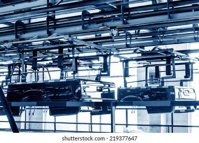 Factory floor, pickup truck production lines.
