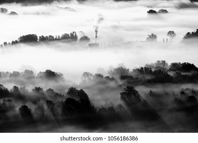 factory in the fog - black and white image