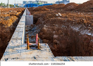 Factory foundation under construction