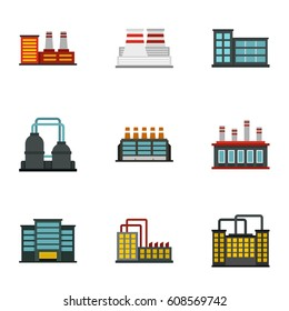 Factory icons set. Flat illustration of 9 factory  icons for web